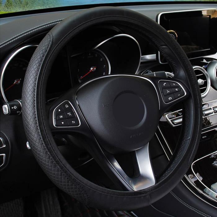 Couvre volant,Housse de volant en cuir pour Mercedes Benz W212 c180 e63 c300 e250 C classe E GLK GLC GLE AMG X204 W205 - Type Black