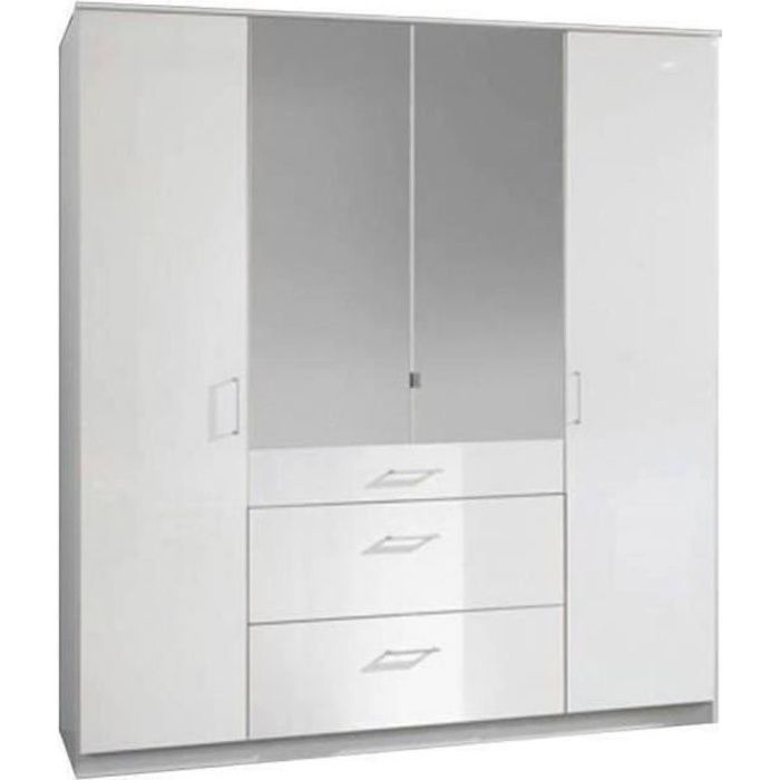 Armoire COOPER portes battantes, miroir et 3 tiroirs largeur 179 coloris laqué blanc / blanc blanc MDF Inside75