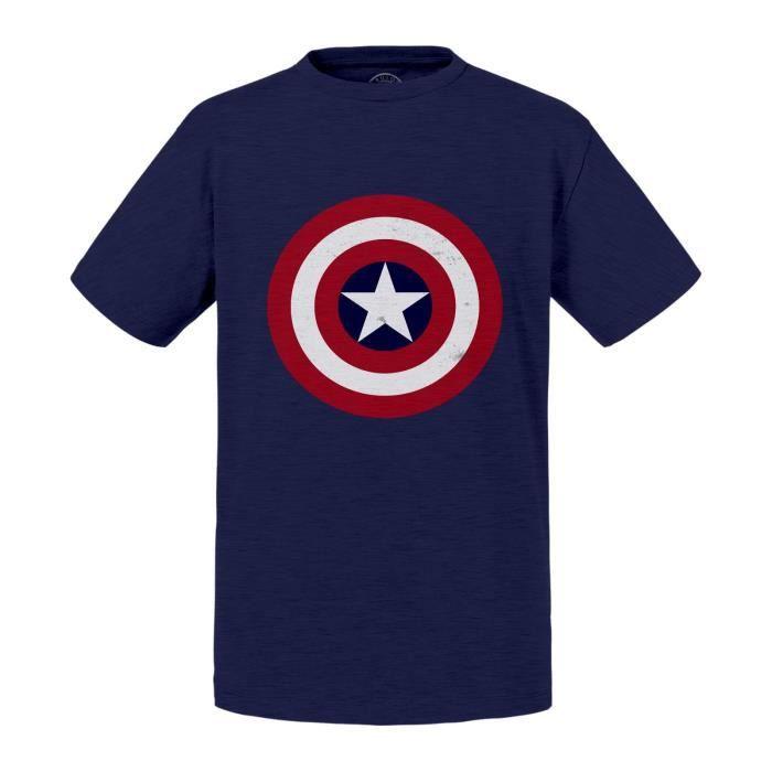 T-shirt Enfant Bleu Captain America Logo Super Héros BD Film Geek