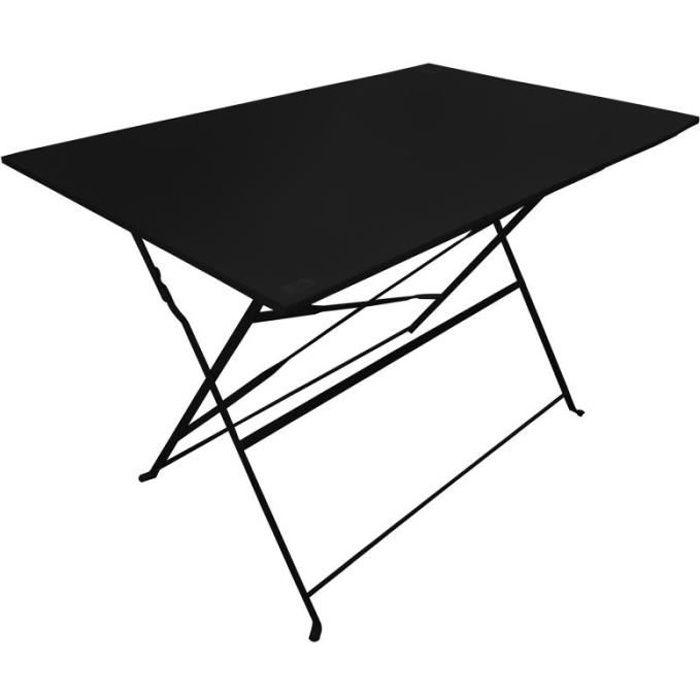 Table De Jardin Pliante -palerme- 110cm Noir - Paris Prix
