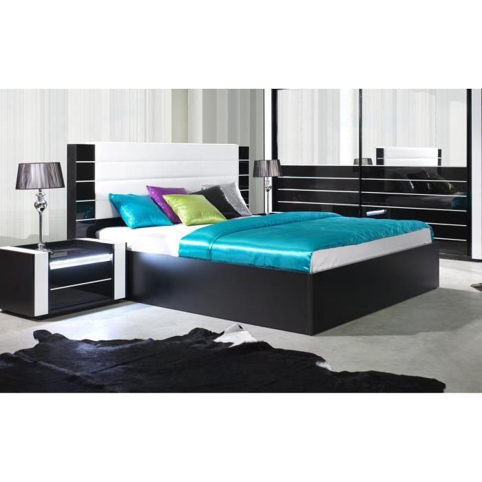 Lit adulte 180cm design LINN noir et blanc brillant + tête de lit en simili cuir 200 Noir