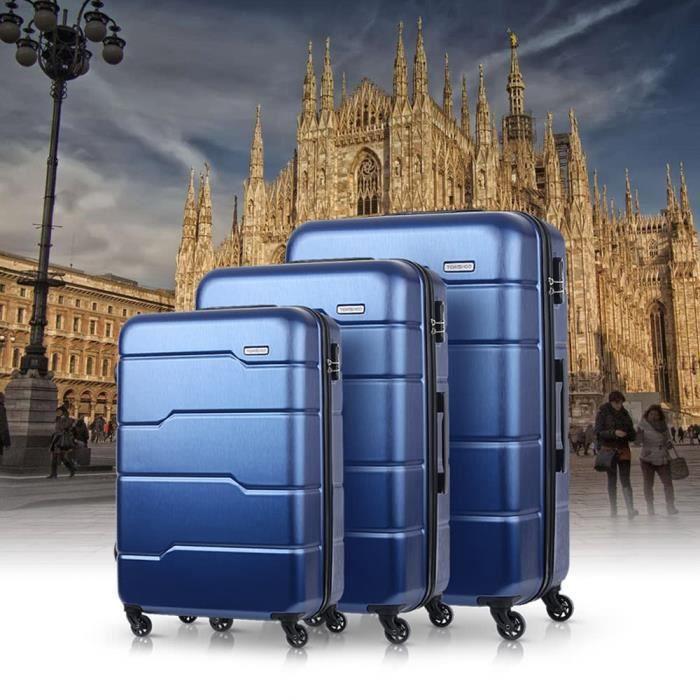 TOMSHOO 3Pcs Set Bagages professionnels Casque dur 20 -- 24- - 28 - Bleu Pour Mixes Carry-on Suitcase PC + ABS Trolley W -