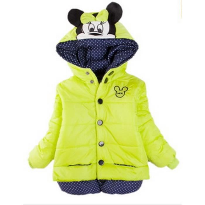 5 ans doudoune manteau blouson veste fille capuche minnie mouse doublee fourrure vert anis neuve. Black Bedroom Furniture Sets. Home Design Ideas