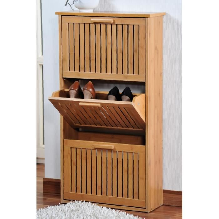 meuble chaussures 3 niveaux en bambou rangement. Black Bedroom Furniture Sets. Home Design Ideas