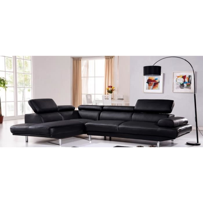 canap d 39 angle gauche en cuir noir hudson achat vente canap sofa divan soldes d. Black Bedroom Furniture Sets. Home Design Ideas