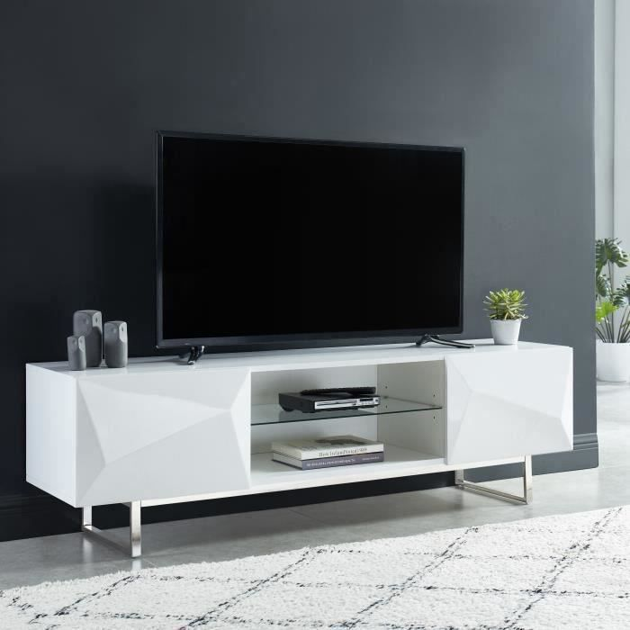 geme meuble tv 2 portes a relief 3d laque blanc