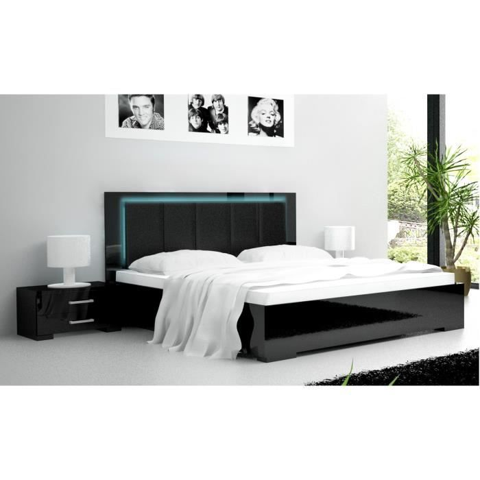 lit design belco 90l laqu noir achat vente. Black Bedroom Furniture Sets. Home Design Ideas