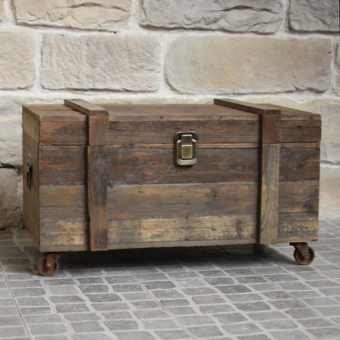 COFFRE - MALLE Grand Coffre Style Ancien à Roulettes Table Basse
