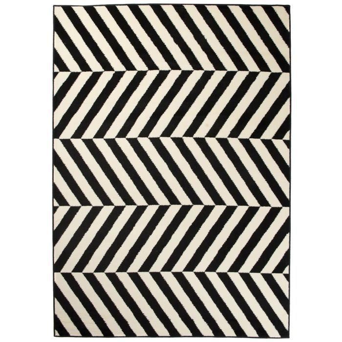 TAPISO Dream Tapis de Salon Moderne Noir Blanc Marocain Rayures Fin 140 x  200 cm
