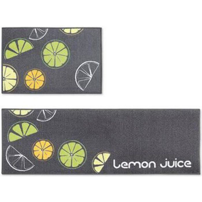 ji0258 jiyaru tapis cuisine antid rapant tapis devant evier absorbant d coratif 2 pi ces citron. Black Bedroom Furniture Sets. Home Design Ideas