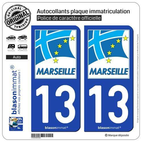Zone-Stickers Autocollants Plaque Immatriculation Commune Marseille 13 Bouches-du-Rh/ône Arrondis