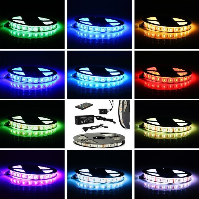 5m ruban lumineux 300 led rgb 5050 smd lampe de d coration. Black Bedroom Furniture Sets. Home Design Ideas