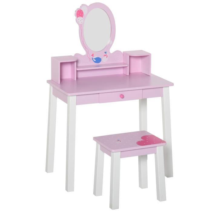 Coiffeuse enfant table de maquillage avec tabouret, 1 tiroir, miroir 59 x  39 x 92 cm bois rose neuf 14