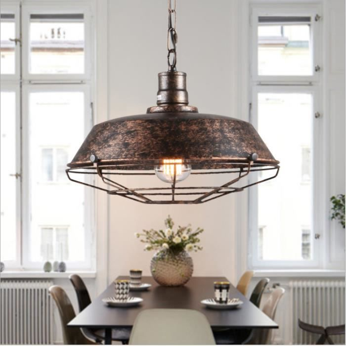suspension r tro vintage lustre plafonnier lampe luminaire industriel rouille ihome ilife. Black Bedroom Furniture Sets. Home Design Ideas