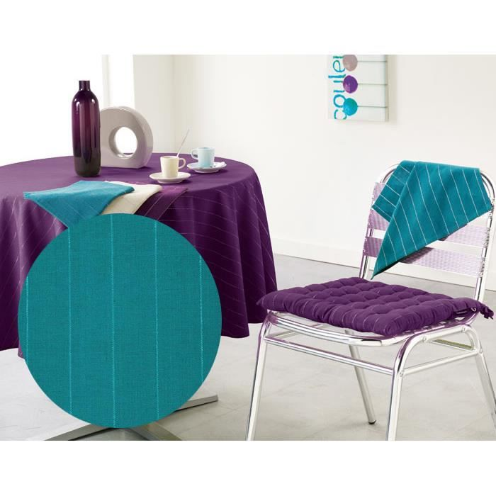 nappe ronde 180cm lulu word bleu canard achat vente nappe de table cdiscount. Black Bedroom Furniture Sets. Home Design Ideas