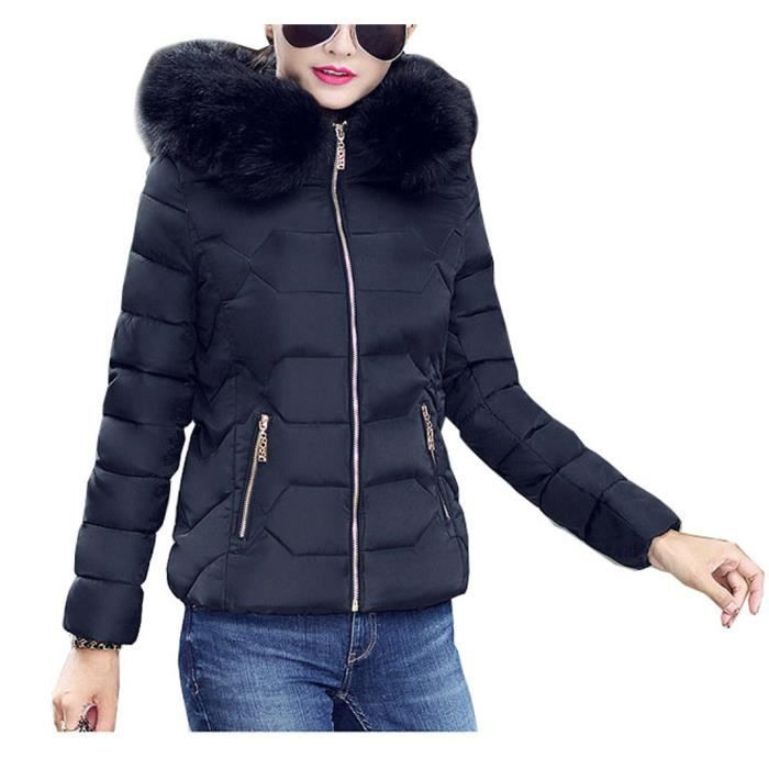 arkind manteau femme jacket court veste capuche fourrure fausse chaud doudoune blouson parka. Black Bedroom Furniture Sets. Home Design Ideas