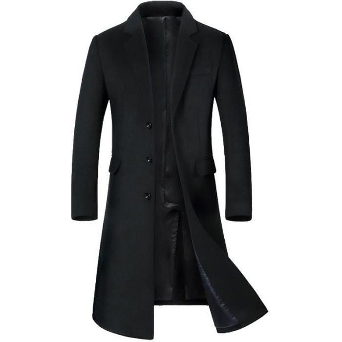 jtong caban homme hiver manteau long trench coat chaud. Black Bedroom Furniture Sets. Home Design Ideas