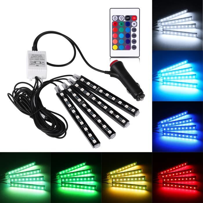 4pcs voiture rgb led bande de lumi re atmosph re lampe. Black Bedroom Furniture Sets. Home Design Ideas