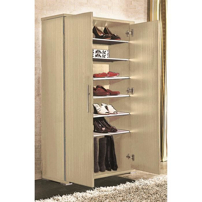 armoire chaussures avec 6 tag re ch ne clair achat. Black Bedroom Furniture Sets. Home Design Ideas