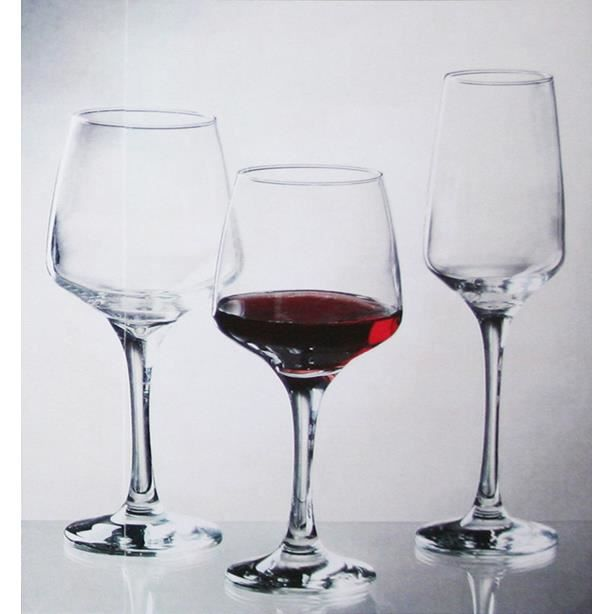 Assortiment de verres SERVICE 18 VERRES A PIED FLORENCE EAU VIN FLUTE EN