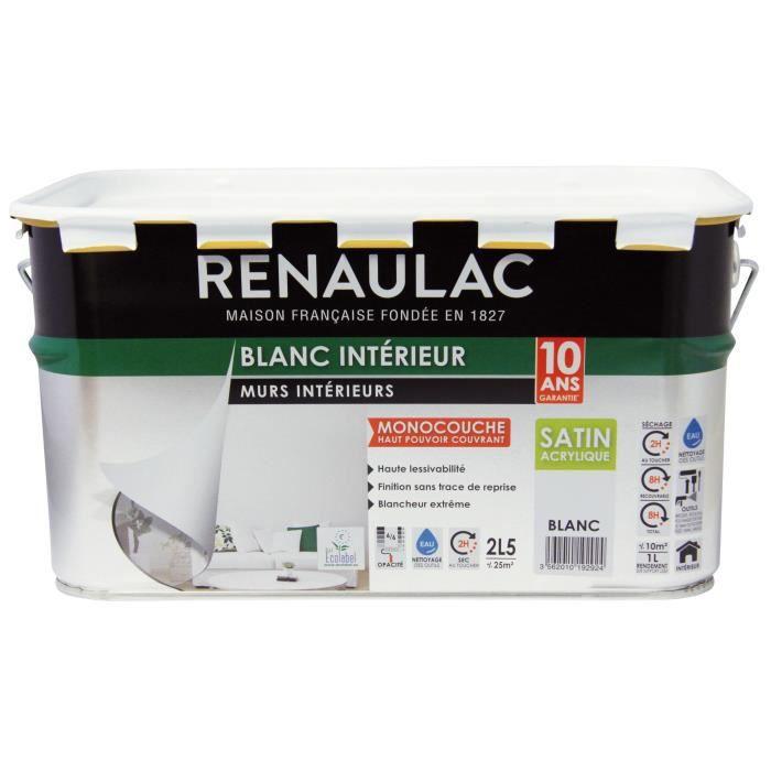 Renaulac Peinture Intérieur Murs Et Plafonds Monocouche Acrylique 2 5 L 25m Blanc Extrême Satin Lessivable