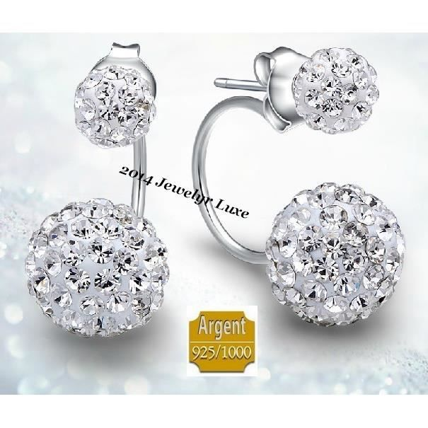 boucles d 39 oreille puces design double shamballa ball cristaux blanc argent 925 achat vente. Black Bedroom Furniture Sets. Home Design Ideas