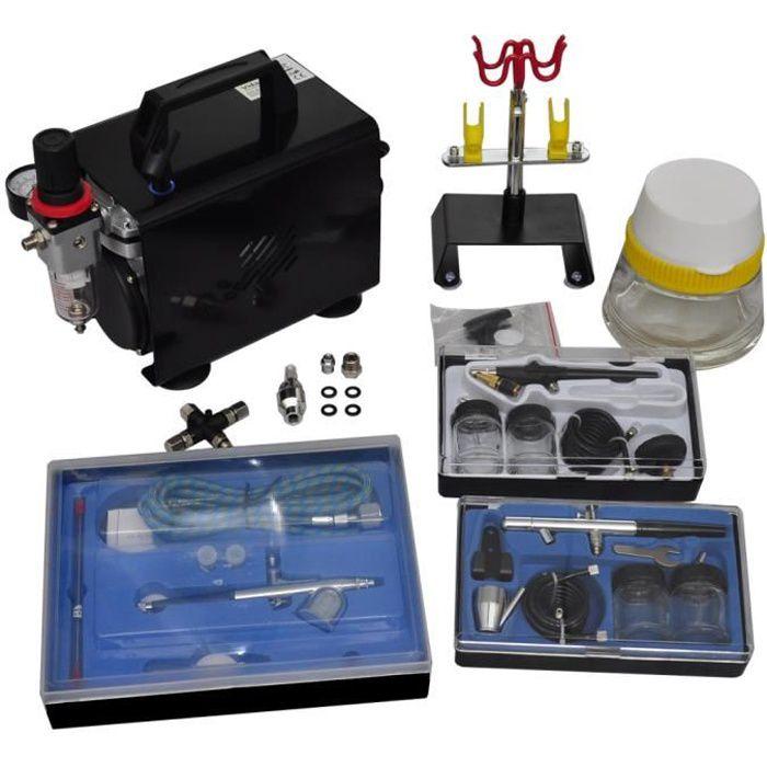 COMPRESSEUR vidaXL Kit de compresseur d'aérographe avec 3 pist