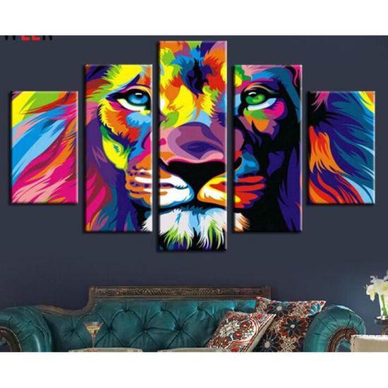 5 Piece Couleur Imprimer Lion Roi Des Animaux Peinture Abstraite Moderne Maison Salon Decor Art Hd Imprimer Image Toile Sans Cadre Achat Vente Objet Decoration Murale Cdiscount