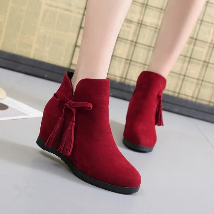 Rouge Suede Pilerty®les Casual Wedges Femmes Bottillons Bottes Martin Tassel Chaussures Zipper Ljd80814899rd40 Bottines ZwU7w