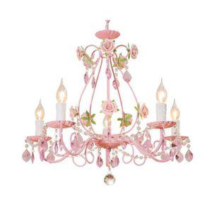 LUSTRE ET SUSPENSION 5 lights Chambre Princesse Le fer Cristal Fleur Lu