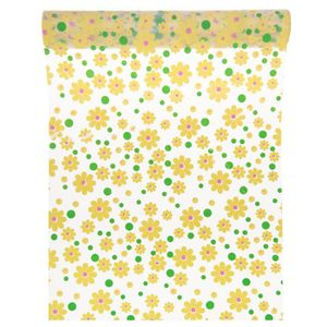 CHEMIN DE TABLE Chemin de table à fleurs jaunes 28 cm x 5 m