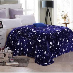 COUVERTURE - PLAID Couverture Plaid Polaire flannelle étoiles blue 18