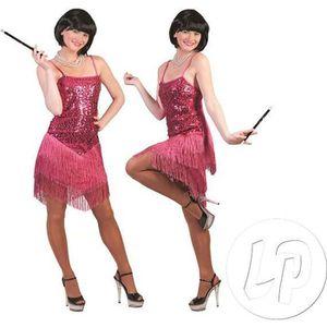 DÉGUISEMENT - PANOPLIE robe charleston à paillettes rose femme taille l
