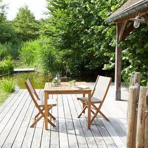 Salon de jardin en bois 2 places