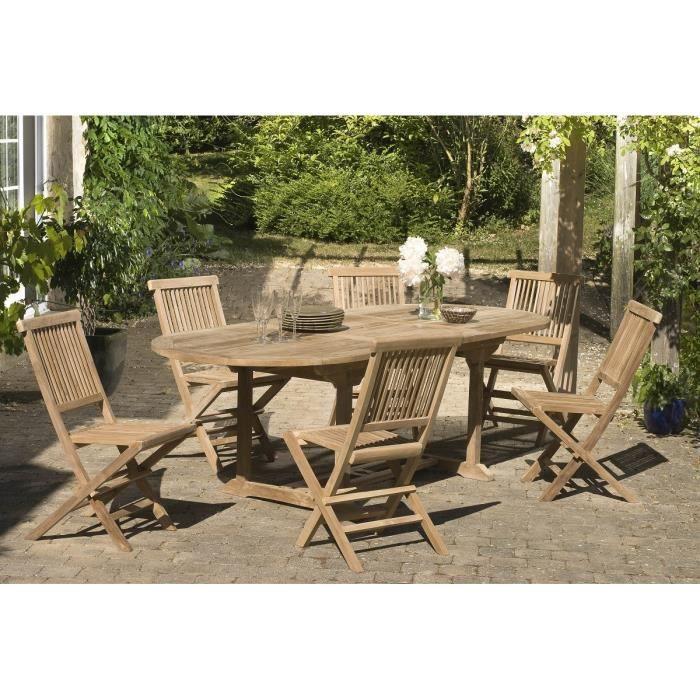 Ensemble en teck massif table extensible ovale de jardin 180 - 240 cm + 6 chaises JARDITECK