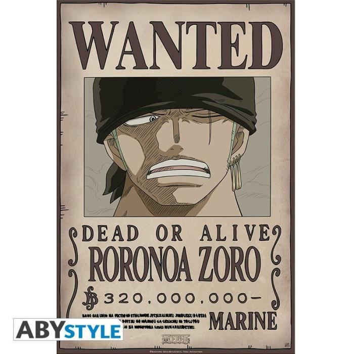 Poster - One Piece -Wanted Zoro- NEW 2017 52x38cm