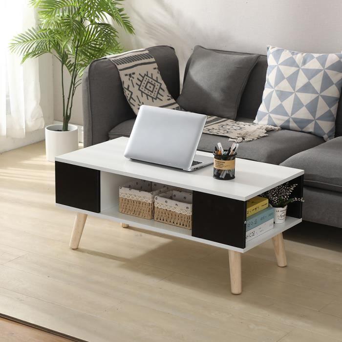 LAIZERE® Table Basse Blanche et Noir - Style Scandinave