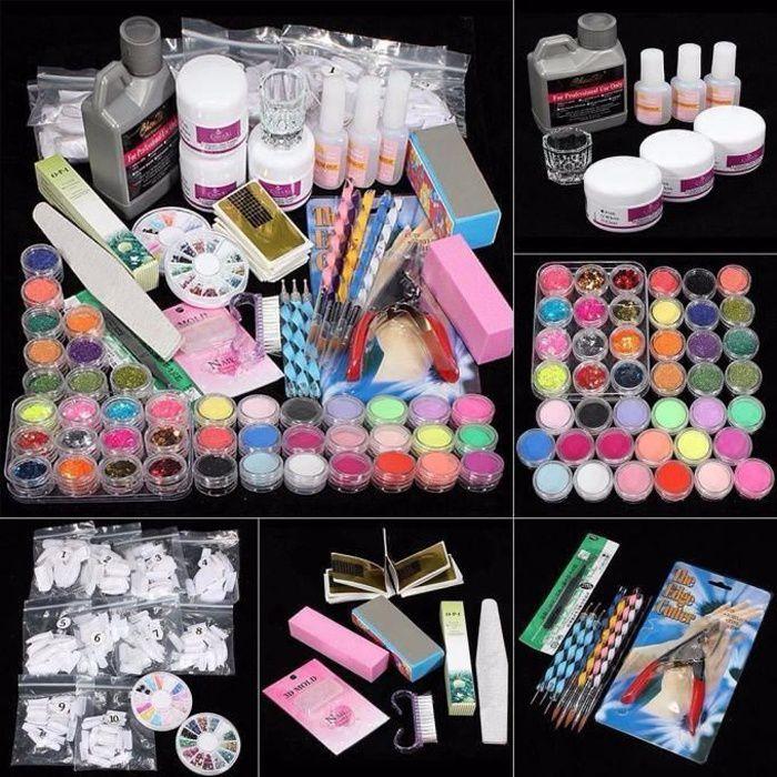 42 Acrylique Nail Art Tips Poudre Liquide Brosse Glitter Clipper Amorce File Set Kit XYQ60411122 GEL UV POUR ONGLES