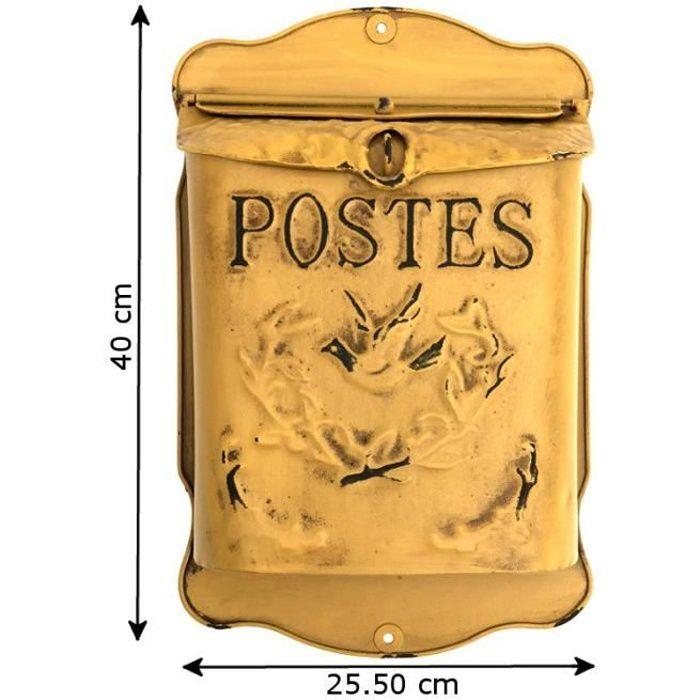 Style Ancien Boîte aux Lettres Murales Jaune Poste 40 cm - 00-Lettre