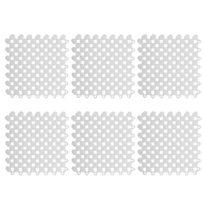 6pcs Tapis de Sol de Verrouillage Antidérapant d'Épissage pour Cuisine Salle de Bain Piscine Balcon 20x20cm(Blanc )