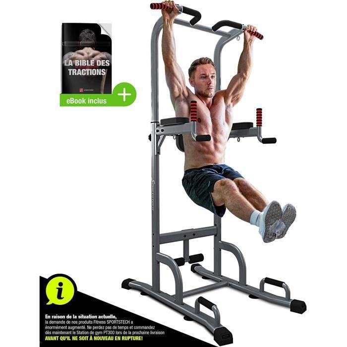 BANC DE MUSCULATION Sportstech Chaise Romaine 7 en 1 PT300 Power Tower Tour de Musculation Multifonctions Barre de Traction, Sta64