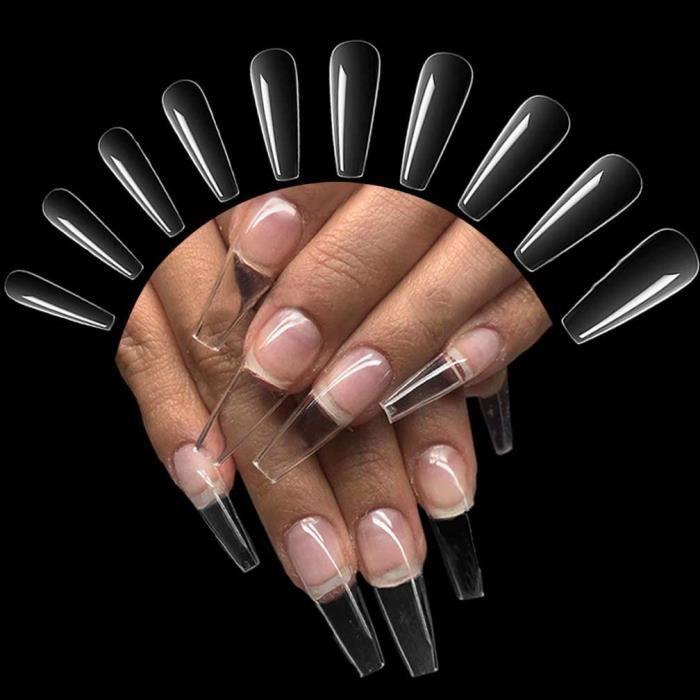 Faux ongles 500 Pi&egraveces Faux Ongles Acrylique Transparent, Artificiel Capsules Ongles Pointues Nail Tips Transparent Profes13