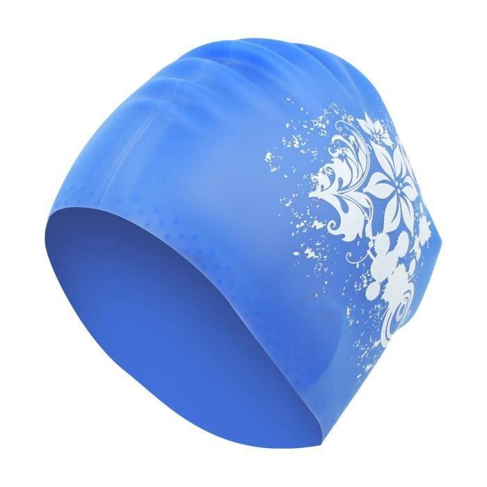 Qiilu bonnet de bain cheveux longs Bonnet de bain unisexe Bonnet de bain en silicone à cheveux longs avec imprimé à la mode
