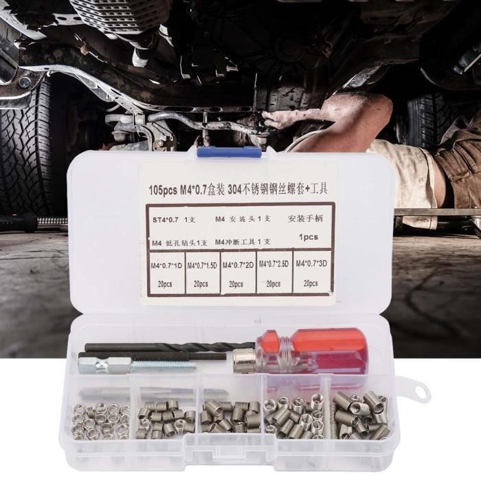 Kit d'insertion de réparation de filetage 105 pièces / ensemble en acier inoxydable fil vis manchon filetage réparation insert
