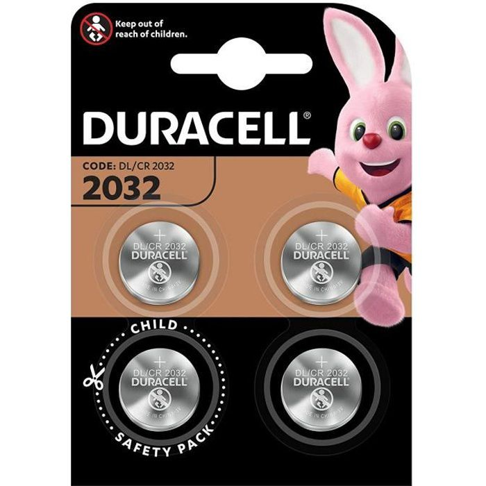 Pile bouton lithium Duracell spéciale 2032 3 V, pack de 4 (DL2032/CR2032)