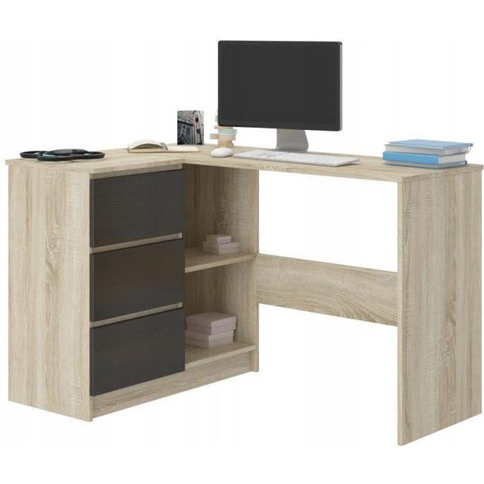 KIAN S - Bureau d'angle + rangements + 3 tiroirs - 112x87x76 cm - Table d'ordinateur - Table de travail - Sonomma-Wengé
