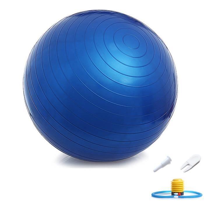 Ballon Suisse Fitness Gym Yoga Epais Couleur Unie 65 cm Bleu