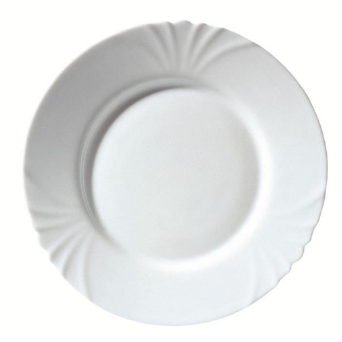 LUMINARC Lot de 6 assiettes plates Cadix T 25 cm blanc