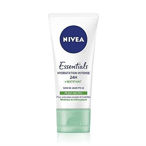 NIVEA Soin de Jour Essentials 24H Hydratation Intense +Matifiant (1 x 50 ml), crème hydratante visage, soin femme & homme enrichi en