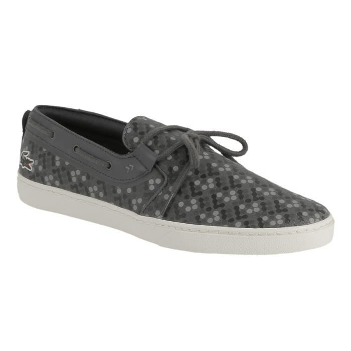 Chaussure tennis Lacoste en textile imprimé gris.